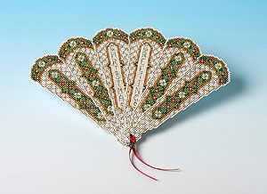 Victorian-style Christmas Card in the form of a fan